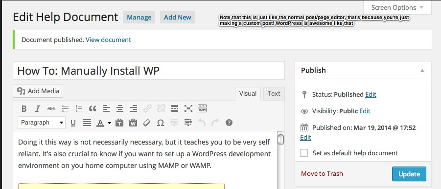 Edit Help Document ‹ Lab Dummy — WordPress